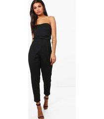 bandeau tailored woven slim fit jumpsuit, black