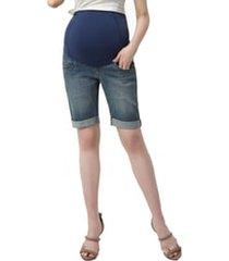 women's kimi and kai abbie denim stretch maternity shorts, size 31 - blue