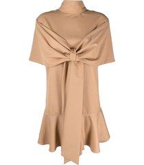 atu body couture bow-detail flared mini dress - neutrals