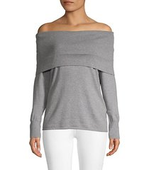 off-the-shoulder cotton & cashmere top
