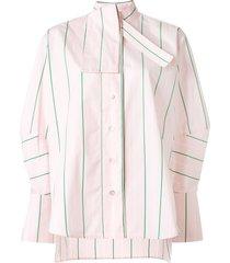 palmer / harding tie-neck striped poplin shirt - pink