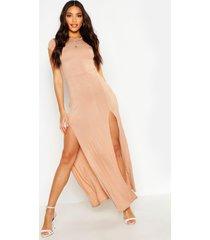 maxi jurk met split, geelbruin