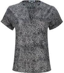 blusa cuello neru estampado cebra color negro, talla 10