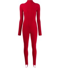 atu body couture front zipped jumpsuit - red