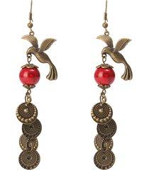 donna orecchini etnici vintage di bronzo di gazza uccello rosso turchese orecchini gioielli