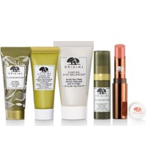 receive your choice of free 5-pc gwp with $65 origins purchase! (up to a $109 value!)