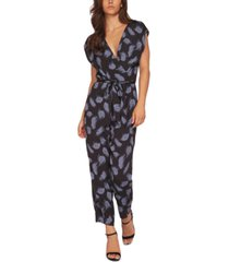 black tape printed faux-wrap jumpsuit