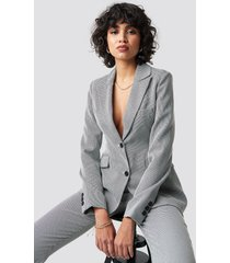 na-kd classic dogtooth fitted blazer - grey