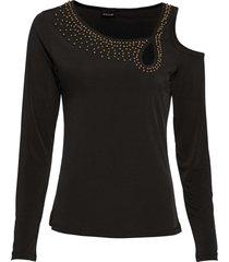 maglia con cut-out e perle (nero) - bodyflirt