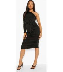 petite strakke midi jurk met eén blote schouder en ceintuur, black