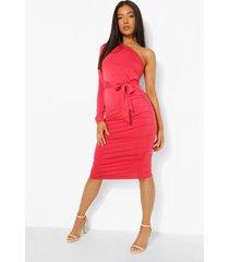 petite strakke midi jurk met eén blote schouder en ceintuur, red