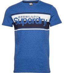 core logo stripe tee t-shirts short-sleeved blå superdry