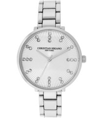 christian siriano women's analog silver-tone stainless steel add-a-link watch 38mm