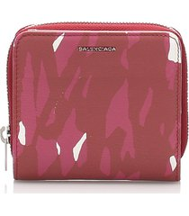 balenciaga printed leather small wallet red, multi sz: