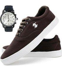 sapatenis polo slin casual + relógio dhl calçados masculino - masculino