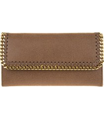stella mccartney brown and golden continental falabella wallet