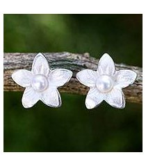 cultured freshwater pearl button earrings, 'blossom pearl' (thailand)