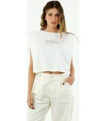 t-shirt de mujer cuello redondo, manga corta con hombreras y bordado, color blanco