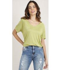 blusa feminina básica ampla manga curta decote v verde