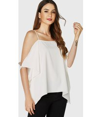 yoins blusa blanca de gasa con hombros descubiertos y tirantes finos