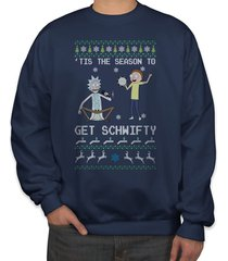 tis the season to get schwifty ugly sweater rick and morty sweatshirt navy