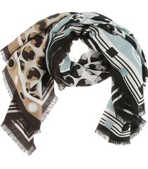 tory burch multi patchwork oversized square scarf