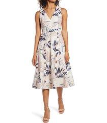 women's vince camuto v-neck sleeveless print midi dress