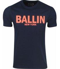 ballin est. 2013 heren t-shirt regular fit navy neon oranje