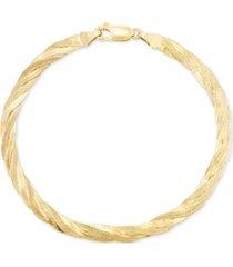 italian gold braided bracelet in 10k gold