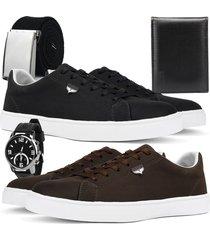 kit 2 pares de sapatãªnis skateboard sapatofran casual preto e cafã© com relã³gio, cinto e carteira - preto - masculino - lona - dafiti