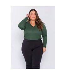 blusa plus size feminina lisamour tricot leve verde