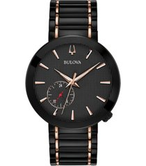 limited edition bulova men's special latin grammy edition dress black & rose gold-tone stainless steel bracelet watch 42mm