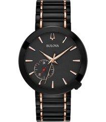 limited edition bulova men's special latin grammy edition dress black & rose gold-tone stainless steel bracelet watch 42mm
