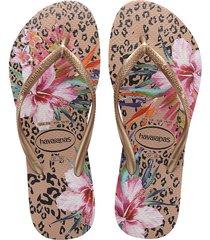 sandalias chanclas para mujer dorado slim rosa