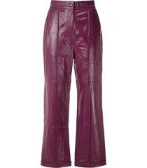 eva wide-leg leather trousers - purple