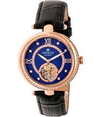 empress stella automatic purple dial, black leather watch 39mm