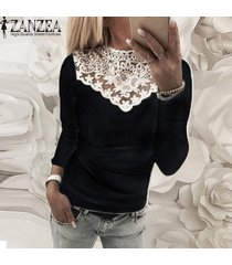 zanzea mujeres camiseta de manga larga de encaje elástico delgado croceht tapas de la camisa ocasional del remiendo de la blusa -negro