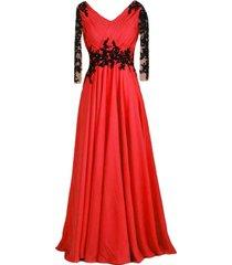 kivary vintage sheer long sleeves v neck beaded formal prom evening dresses red