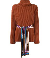 fendi belted turtleneck jumper - brown