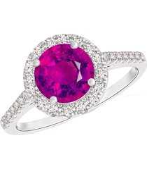 pure 925 silver red ruby 14k white gold finish halo style women's ring