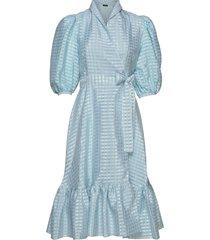 chinie, 864 gingham poly knälång klänning stine goya
