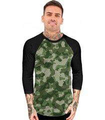 camiseta chess clothing manga 3 4 raglan camuflado verde