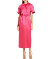 women's brandon maxwell cape sleeve wool & silk dress, size 2 - pink