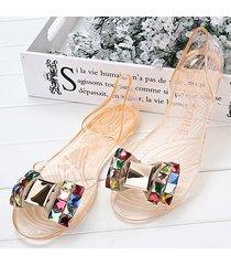 butterflykont beaded cristallo trasparente peep toe slip su sandali flat beach
