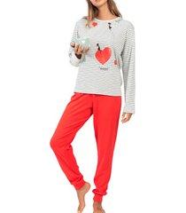 pyjama's / nachthemden admas pyjama tenue d'intérieur pantalon top manches longues nina