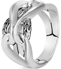 'asli classic chain' engraved silver ring