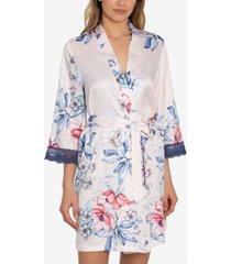 linea donatella corinne satin floral-print wrap robe
