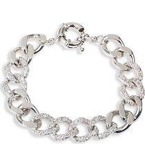 look of real silvertone & cubic zirconia chain bracelet