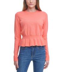 calvin klein cotton peplum sweater