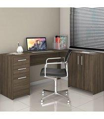 mesa para escritório 2 portas 3 gavetas nt 2005 nogal trend - notavel